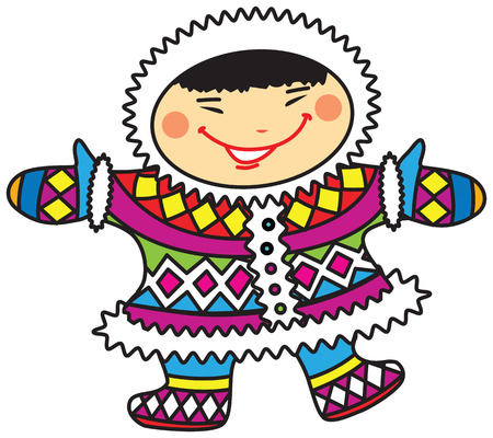 Vector illustration of a happy smiling cartoon Eskimo boy in colorful national costumes. Illustration