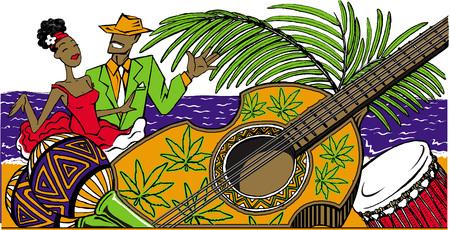 Dance party vector illustration with cartoon cuban couple dancing salsa on the beach, maracas, cuban guitar and drum. .