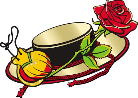 relate: Set of cartoon vector objects relate Spain and spanish culture. Spanish hat, castanets, and red rose.