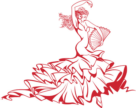 Vector illustration of young beautiful Spanish flamenco dancer in long dress with fan.