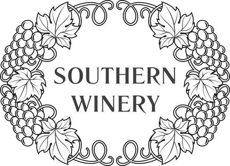 Wijn thema decoratie; wijn wijnmakerij logo sjabloon wijnkaart. Vector illustratie. Stock Illustratie