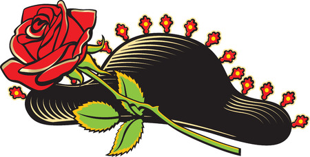 Vector illustration of cartoon style traditional bullfighter hat and red rose isolated on white background.