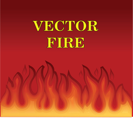 Hot burning fire flame on dark red background. Vector illustration frame background.