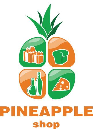 Vers voedsel verse ananas logo vector ontwerpsjabloon. Online winkellogo. Stock Illustratie
