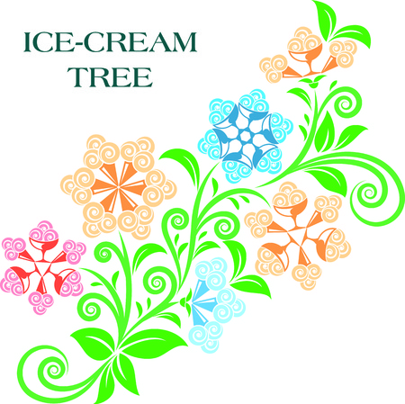 Ice-cream tree with green leaves and ice-cream waffle cones as flowers. Vector illustration template for your design.