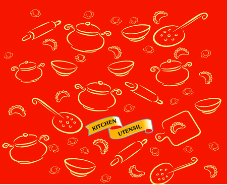 Vector illustration with kitchen utensils, accessories and perogies isolated on red background .. Ilustração