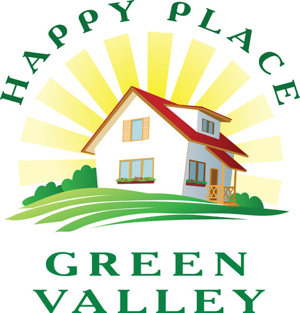 Vector illustration of idyllic happy and clear house. Nice cartoon house on green hill under the sun. Logo or icon template for real estate.