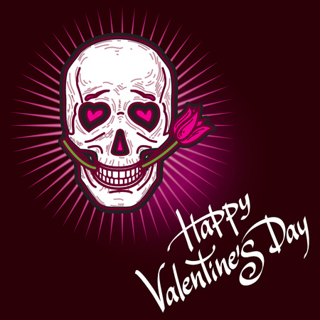Gloomy and grim black and pink Valentine's Day card with funny lover smiling skull with rose and lettering