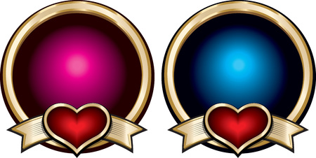 Gold shiny blue and pink badges with red hearts on ribbons. Vector decorative elements.