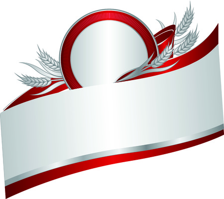 Silver and red banner with a few silver wheat ears with leaves on ribbon. Vector illustration.