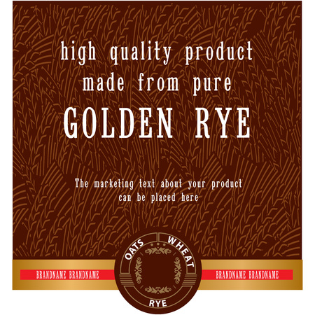 Food or drink vector label template for vodka, bakery etc with abstract golden ripe rye ears background. Decorative vector element for your design.