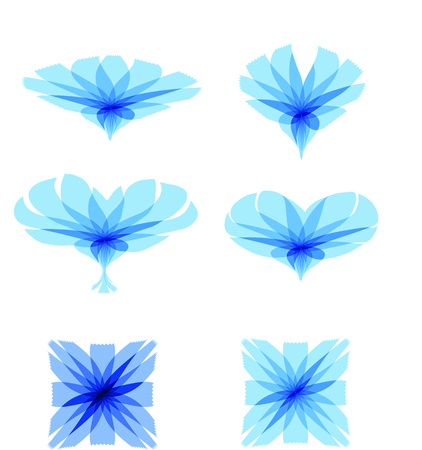 Cichorium intybus. Set of Chicory flowers symbolic images. Vector Illustration logo or icon template. Health and Nature.
