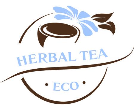 Natural ingredients, fresh herbs tea emblem logo template vector illustration.