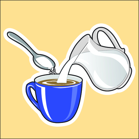 Symbolic image of the preparation of coffee with milk and sugar. Milk is added to coffee from a jug, sugar is poured into coffee from a spoon.