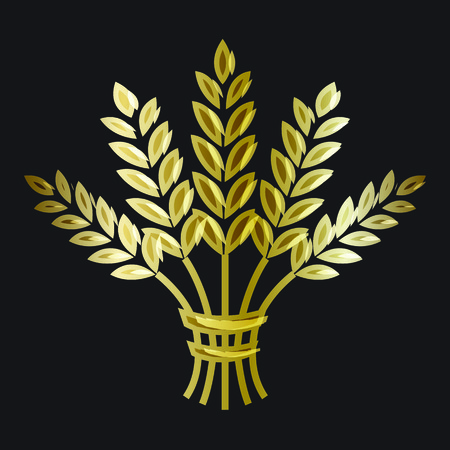 Golden ripe wheat sheaf on black background. Vector decorative element, brand icon or logo template.