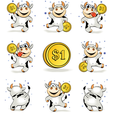 Funny cartoon crazy young cow with gold coin 1 dollar is happy and joyful dancing in various poses. Financial success, money, wealth. Concept vector illustration.