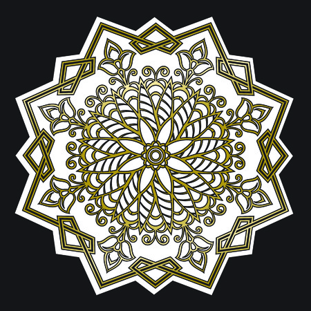 Golden geometric oriental floral mandala ornament on black background. Squares, triangles, leaves and flowers. Vector. Illustration