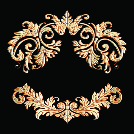 Richly decorated vintage baroque scroll design frame floral decoration. Retro style filigree gold vector template isolated on black background for your design.