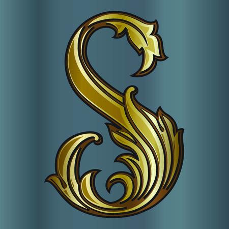 S の紋章モノグラム。灰色の背景に影を持つベクトル ビンテージ黄金ロゴ要素。