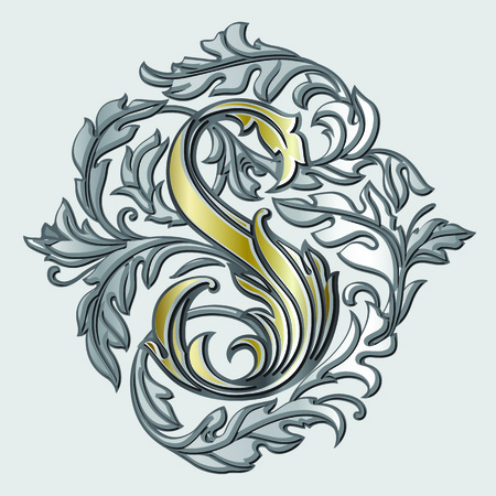 Letter S heraldic monogram in coats of arms form. Vector vintage gold and silver logo element with shadow isolated on grey background. Letter S is surrounded with floral elements of design.