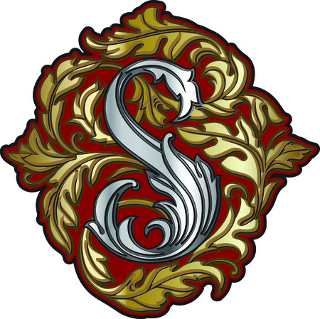 Silver letter S heraldic monogram in in baroque style on maroon. Illustration