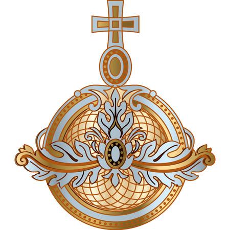 Power attributo monarchia orb di re, regina, icona vettoriale zar. Attributo reale d'oro e argento dell'illustrazione dell'imperatore.