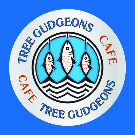 gudgeon: Three cartoon gudgeons fishes as seafood cafe restaurant logo template vector illustration. Illustration