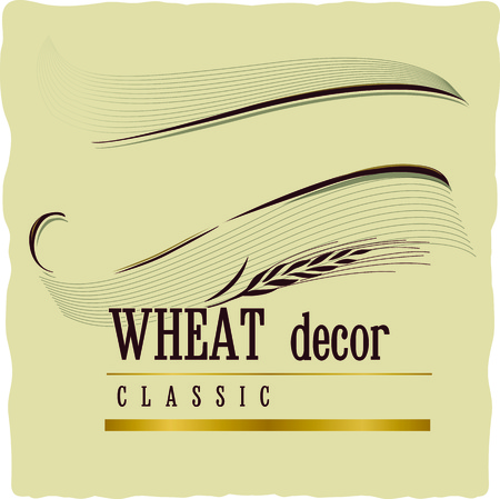 Vintage retro decoration banner with wheat ears on craft beige background. Can be used as frame design decorative element.