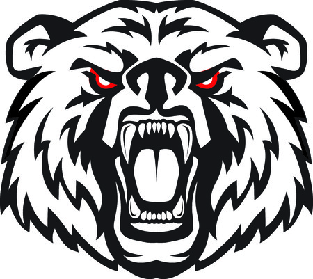 Vector illustration of furious angry face of terrible bear with open mouth and terrible teeth. Great for use as logo element, icon, as a tattoo or as symbol of strength and aggressiveness.