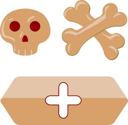 casket: Isolated funny cartoon skull cross-bones hearse bier coffin. Vector illustration.