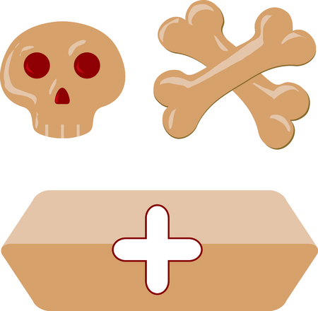 Isolated funny cartoon skull cross-bones hearse bier coffin. Vector illustration.