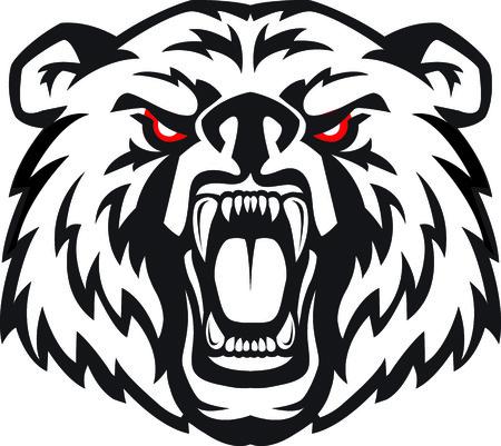 Ilustración vectorial de la cara enojado furioso de oso terrible con la boca abierta y los dientes terribles. Grande para el uso como elemento de la insignia, icono, como tatuaje o como símbolo de la fuerza y ??de la agresividad. Ilustración de vector