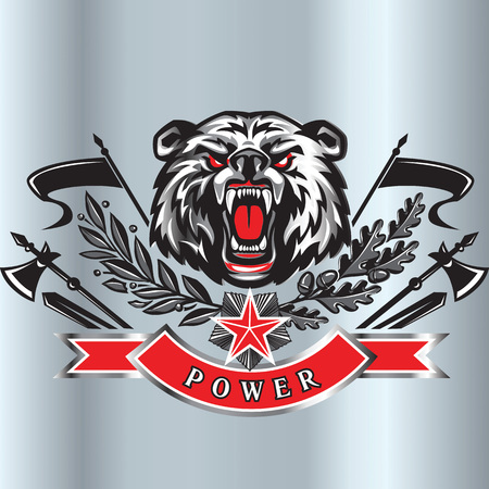 Furious angry face of terrible bear with open mouth and terrible teeth as element of military style crest. Great for use as logo element, icon, tattoo symbol of strength and aggressiveness. Illustration