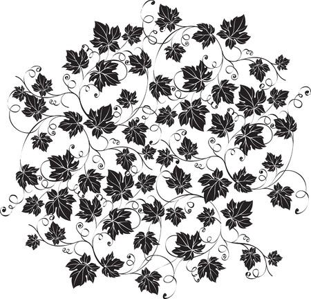 Elegante rijkelijk versierde sierlijke zwarte druivenbladeren op witte achtergrond. Decoratieve sieraad vectorillustratie. Stock Illustratie