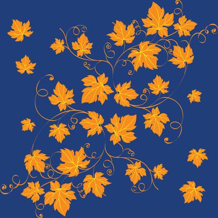 Elegant richly decorated ornate orange grape leaves on blue background. Decorative ornament vector illustration.