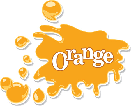 Orange juice or honey cartoon background with blots, drops and splashes. Vector illustration. Illustration