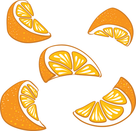 Bright vector set of slices and segments of juicy oranges. Fresh cartoon oranges on white background.