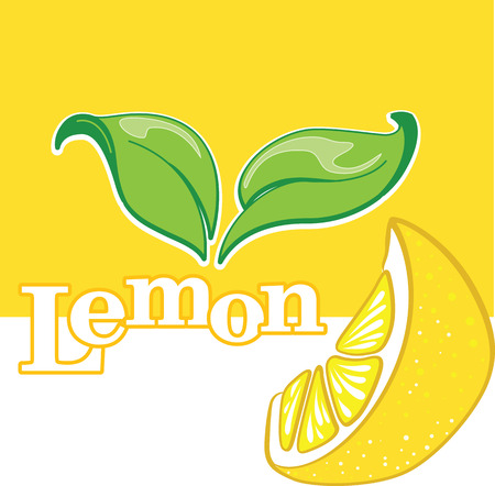 Isolated segment of lemon with green leaves, banner or advertisement template, vector illustration. Çizim