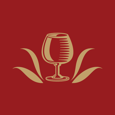 snifter: Cognac or brandy glass icon with decorative floral element. Vector illustration.