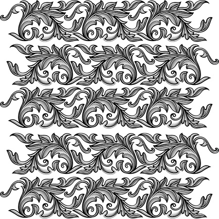 Vector vintage baroque engraving floral ornament - seamless pattern.