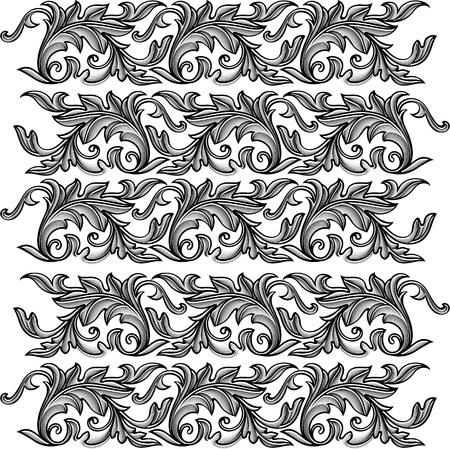 ベクトル ヴィンテージ バロックの花飾り - シームレスなパターンを彫刻します。