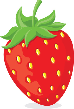 Red ripe cartoon strawberry symbol with green leaves. Vector illustration.