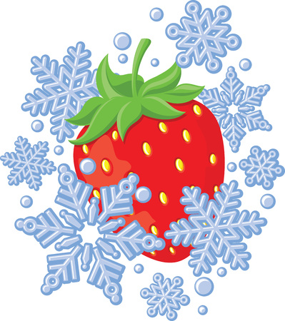 Red ripe strawberry frozen amongst snowflakes. Vector icon symbol of frozen fruits.