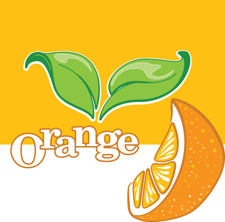 Isolated segment of orange with green leaves, banner or advertisement template, vector illustration.