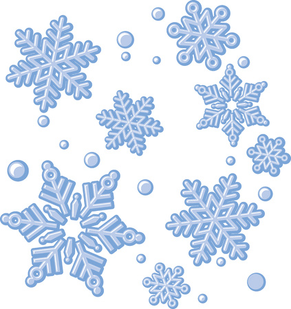 A few different winter Christmas snowflakes, vector illustration. Reklamní fotografie - 93625941