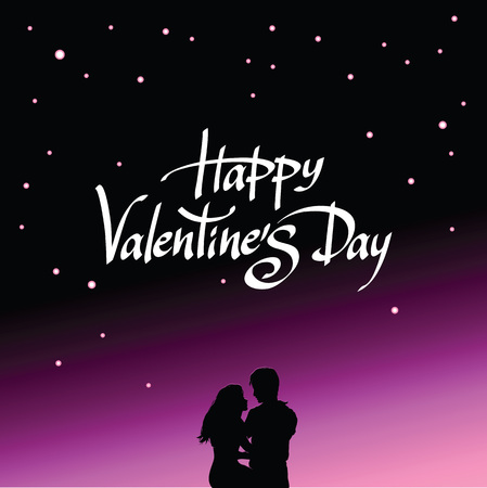 Happy valentines day greeting card with romantic loving couple happy valentines day greeting card with romantic loving couple silhouette on starry night sky background m4hsunfo