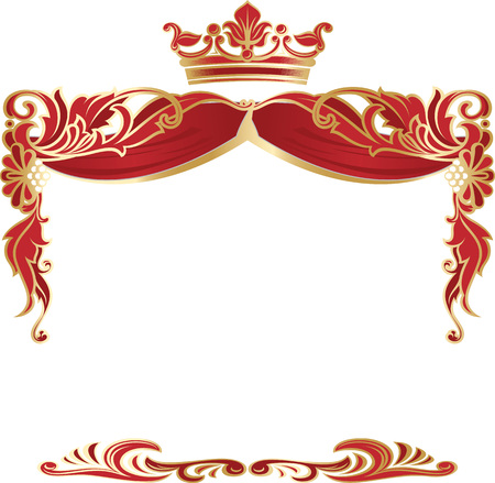 Elegant royal frame with crown isolated on white background. Vector.