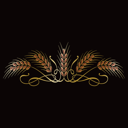 Golden ripe wheat sheaf ears on black background. Vector decorative element for label design, brand icon template. Illustration