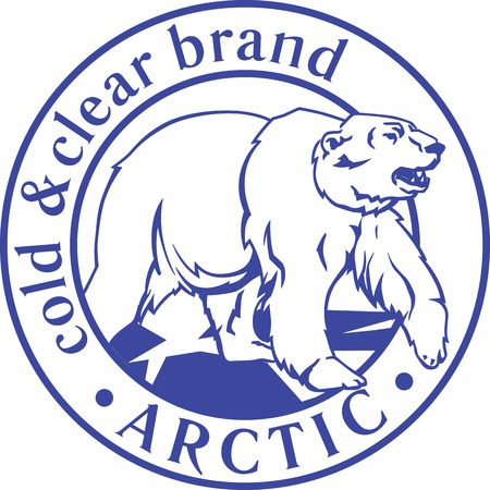Arctic logo icon template with white polar bear framed in circle with fictitious brand name Arctic. Vector illustration. Illustration