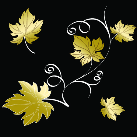 Gold grape branch with leaves isolated on black background. Decorative ornament vector illustration.